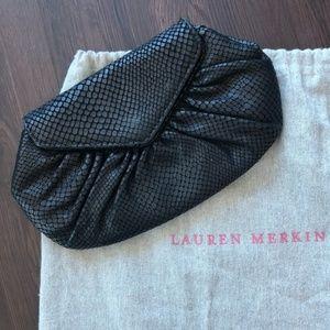Lauren Merkin Black Snakeskin Clutch